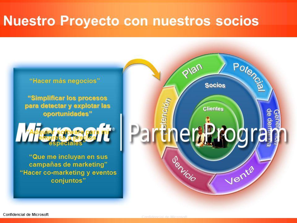 Confidencial de Microsoft Nuestro Proyecto con nuestros socios Hacer más negocios Simplificar los procesos para detectar y explotar las oportunidades