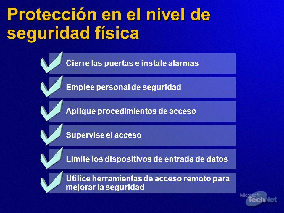 Protección en el nivel de seguridad física Cierre las puertas e instale alarmas Emplee personal de seguridad Aplique procedimientos de acceso Supervis