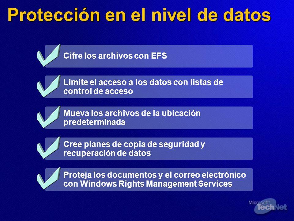 Protección en el nivel de datos Cifre los archivos con EFS Limite el acceso a los datos con listas de control de acceso Mueva los archivos de la ubica