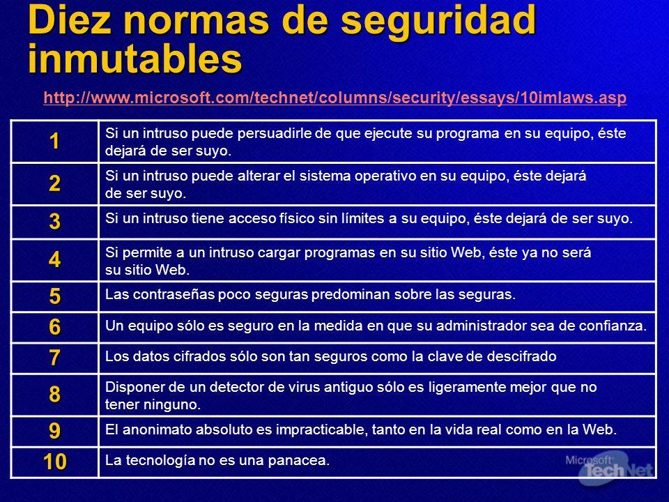 Diez normas de seguridad inmutables 1 Si un intruso puede persuadirle de que ejecute su programa en su equipo, éste dejará de ser suyo. 2 Si un intrus