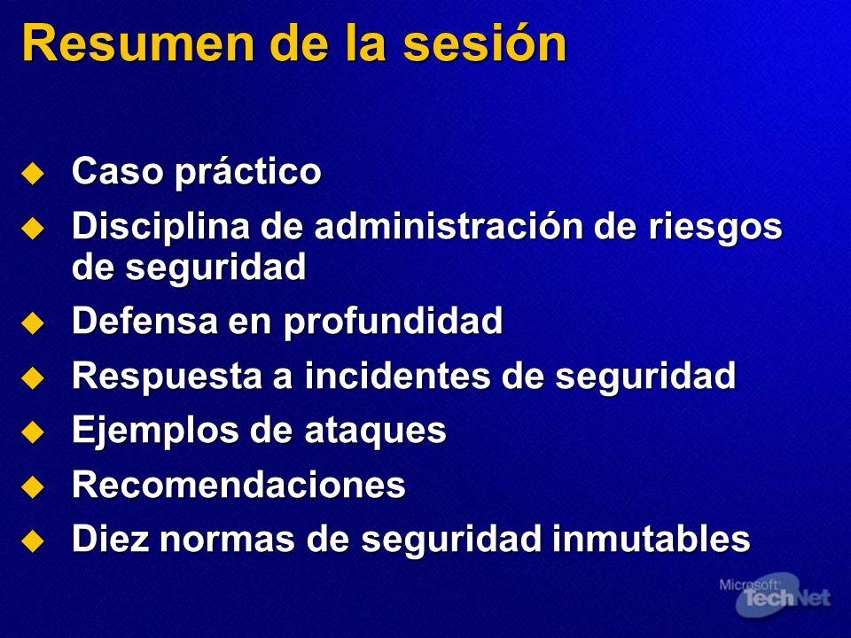 Resumen de la sesión Caso práctico Caso práctico Disciplina de administración de riesgos de seguridad Disciplina de administración de riesgos de segur