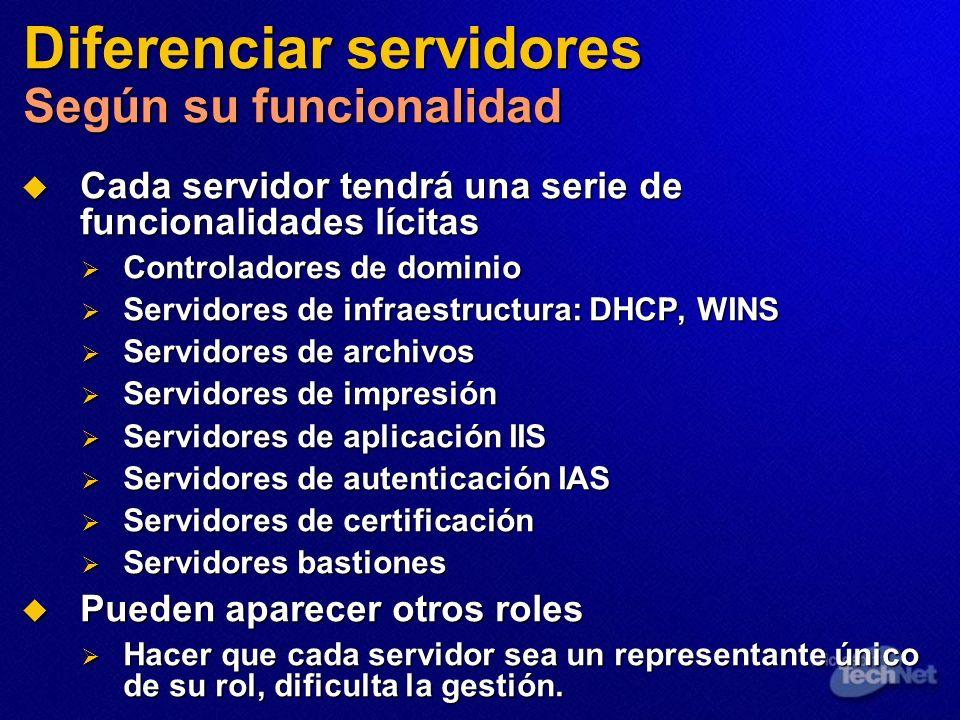 Diferenciar servidores Según su funcionalidad Cada servidor tendrá una serie de funcionalidades lícitas Cada servidor tendrá una serie de funcionalida