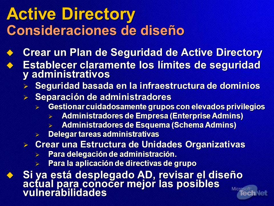 Active Directory Consideraciones de diseño Crear un Plan de Seguridad de Active Directory Crear un Plan de Seguridad de Active Directory Establecer cl