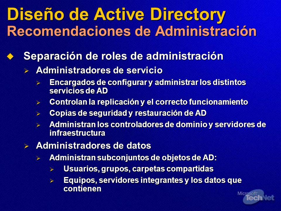 Diseño de Active Directory Recomendaciones de Administración Separación de roles de administración Separación de roles de administración Administrador