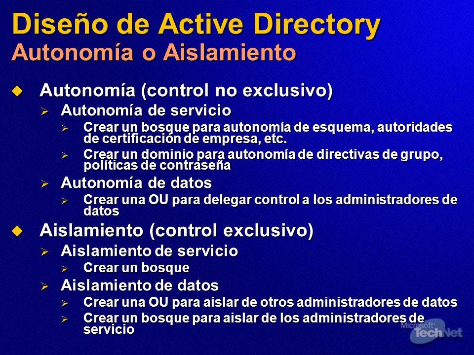 Diseño de Active Directory Autonomía o Aislamiento Autonomía (control no exclusivo) Autonomía (control no exclusivo) Autonomía de servicio Autonomía d