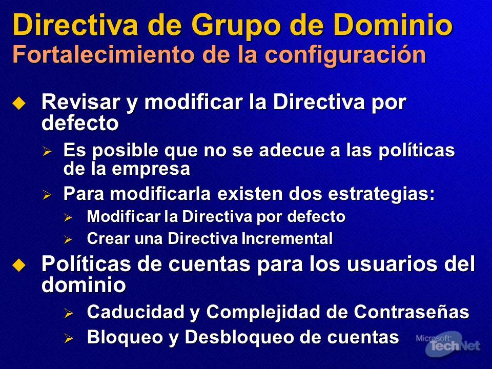Directiva de Grupo de Dominio Fortalecimiento de la configuración Revisar y modificar la Directiva por defecto Revisar y modificar la Directiva por de
