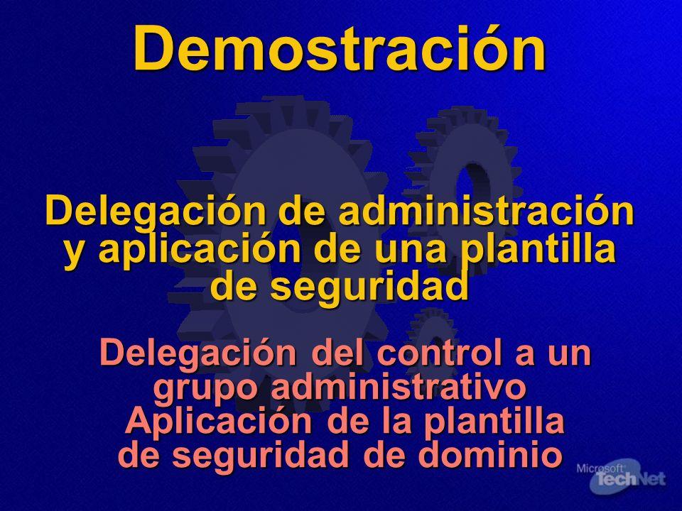 Demostración Delegación de administración y aplicación de una plantilla de seguridad Delegación del control a un grupo administrativo Aplicación de la
