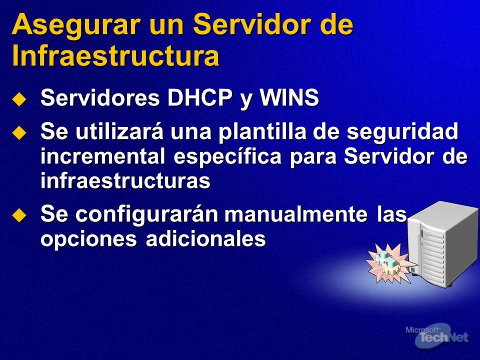 Servidores DHCP y WINS Servidores DHCP y WINS Se utilizará una plantilla de seguridad incremental específica para Servidor de infraestructuras Se util