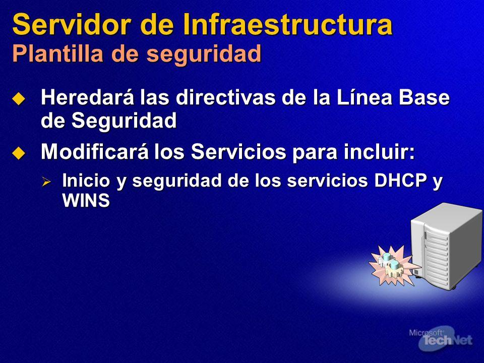 Servidor de Infraestructura Plantilla de seguridad Heredará las directivas de la Línea Base de Seguridad Heredará las directivas de la Línea Base de S