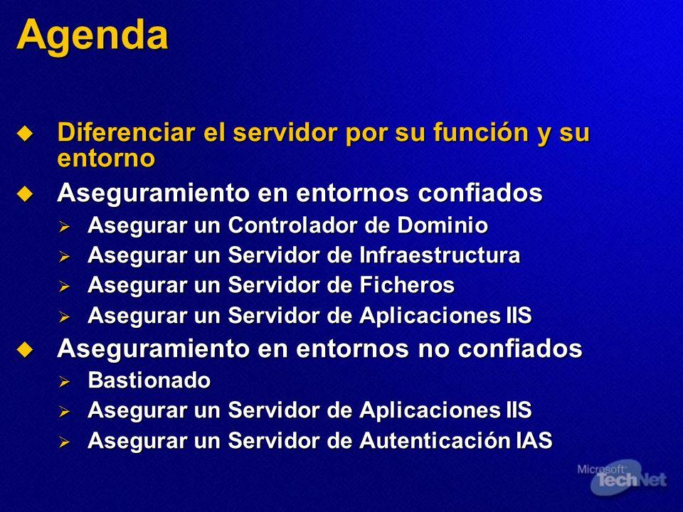 Agenda Diferenciar el servidor por su función y su entorno Diferenciar el servidor por su función y su entorno Aseguramiento en entornos confiados Ase