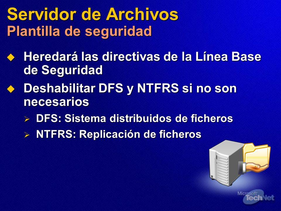Servidor de Archivos Plantilla de seguridad Heredará las directivas de la Línea Base de Seguridad Heredará las directivas de la Línea Base de Segurida