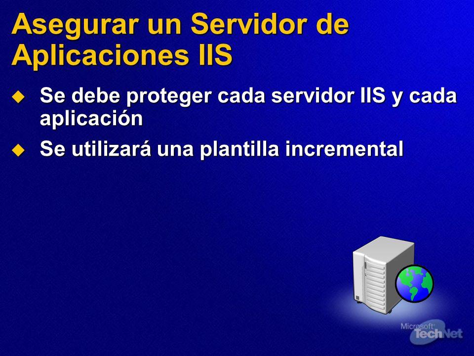 Se debe proteger cada servidor IIS y cada aplicación Se debe proteger cada servidor IIS y cada aplicación Se utilizará una plantilla incremental Se ut