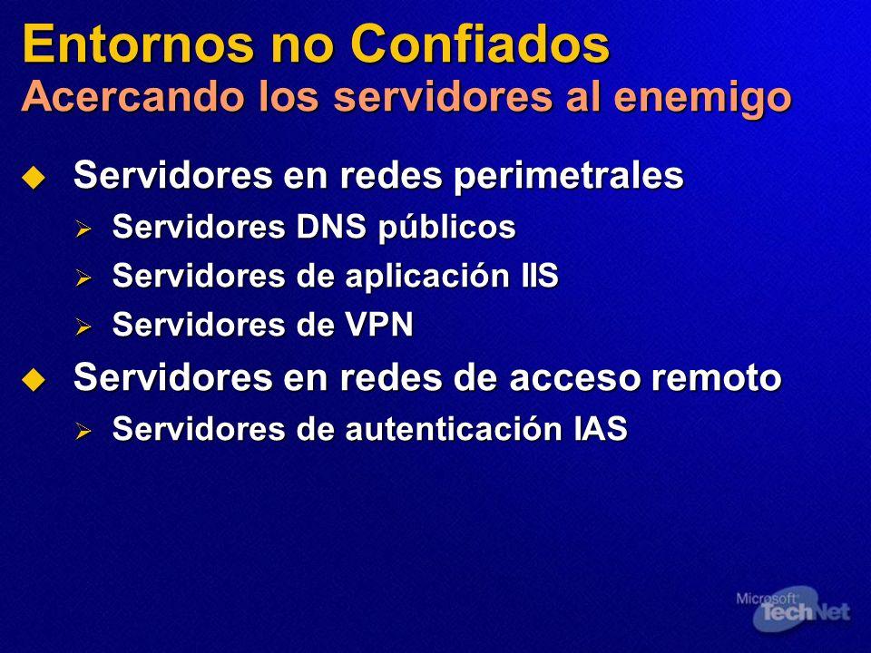 Entornos no Confiados Acercando los servidores al enemigo Servidores en redes perimetrales Servidores en redes perimetrales Servidores DNS públicos Se