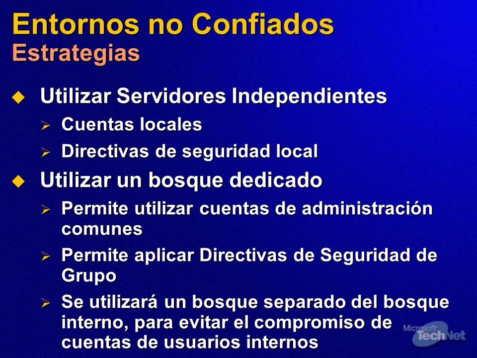 Entornos no Confiados Estrategias Utilizar Servidores Independientes Utilizar Servidores Independientes Cuentas locales Cuentas locales Directivas de