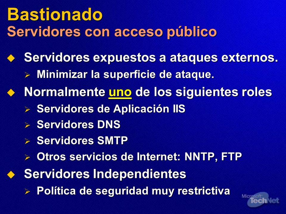 Bastionado Servidores con acceso público Servidores expuestos a ataques externos. Servidores expuestos a ataques externos. Minimizar la superficie de