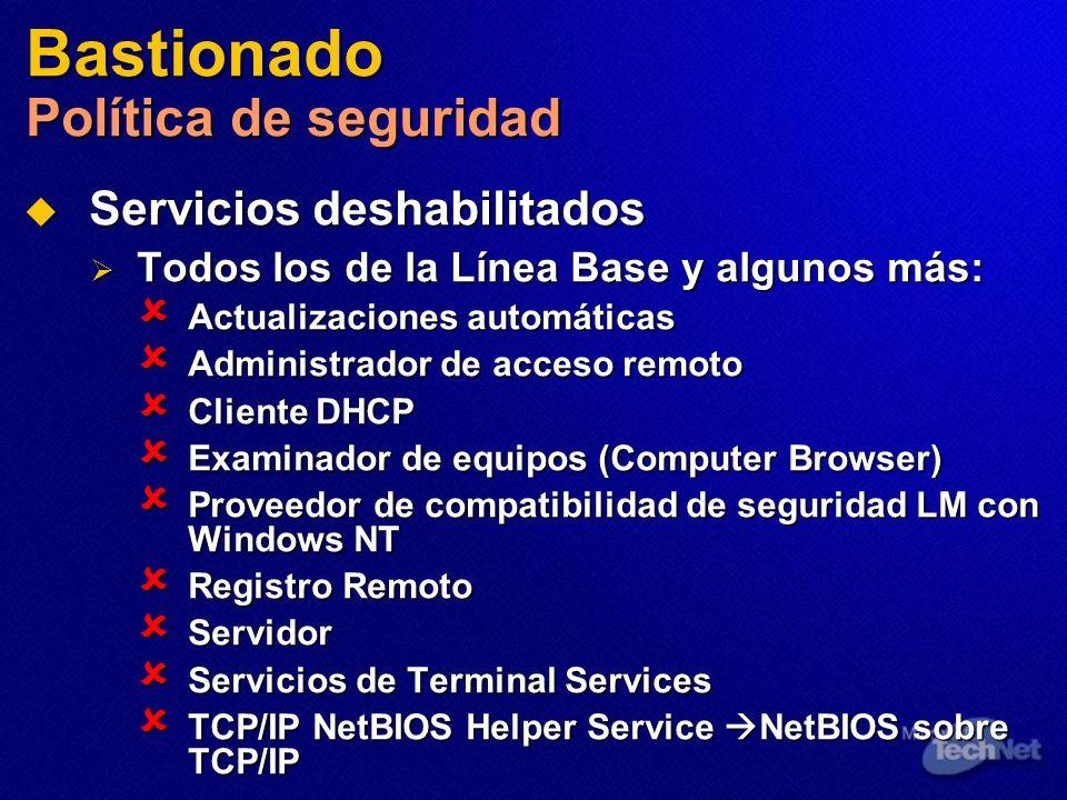 Bastionado Política de seguridad Servicios deshabilitados Servicios deshabilitados Todos los de la Línea Base y algunos más: Todos los de la Línea Bas