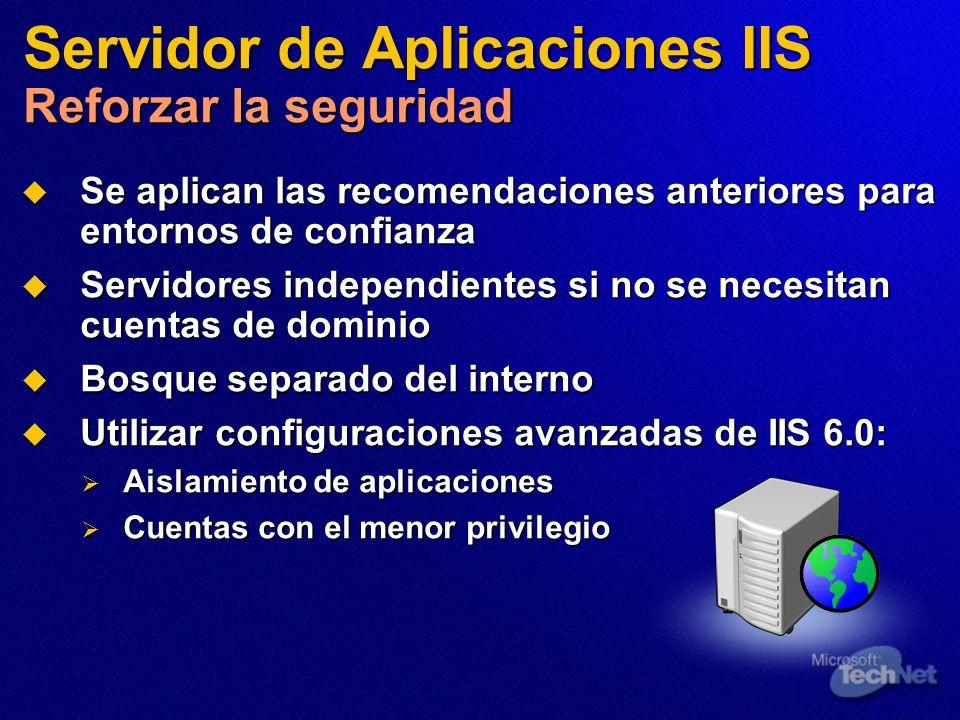 Servidor de Aplicaciones IIS Reforzar la seguridad Se aplican las recomendaciones anteriores para entornos de confianza Se aplican las recomendaciones