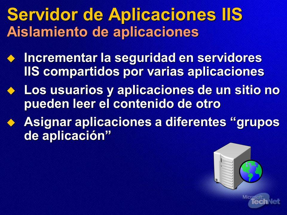 Servidor de Aplicaciones IIS Aislamiento de aplicaciones Incrementar la seguridad en servidores IIS compartidos por varias aplicaciones Incrementar la