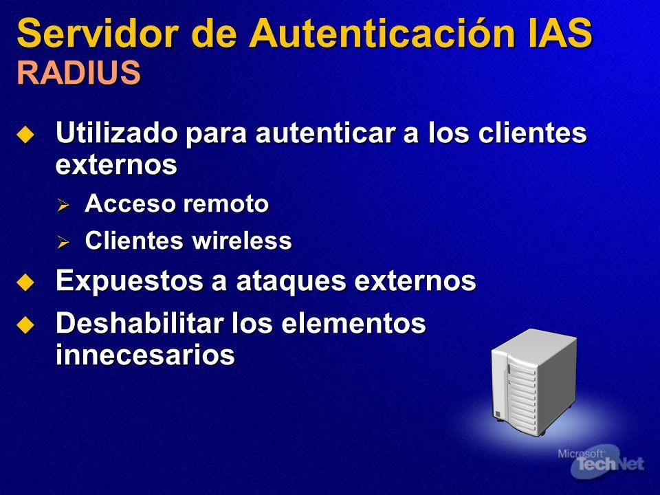 Servidor de Autenticación IAS RADIUS Utilizado para autenticar a los clientes externos Utilizado para autenticar a los clientes externos Acceso remoto