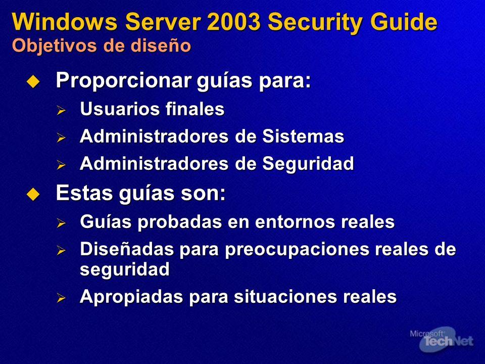 Proporcionar guías para: Proporcionar guías para: Usuarios finales Usuarios finales Administradores de Sistemas Administradores de Sistemas Administra