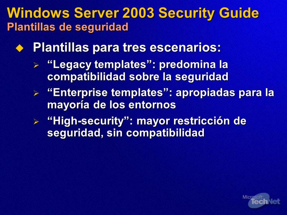 Plantillas para tres escenarios: Plantillas para tres escenarios: Legacy templates: predomina la compatibilidad sobre la seguridad Legacy templates: p