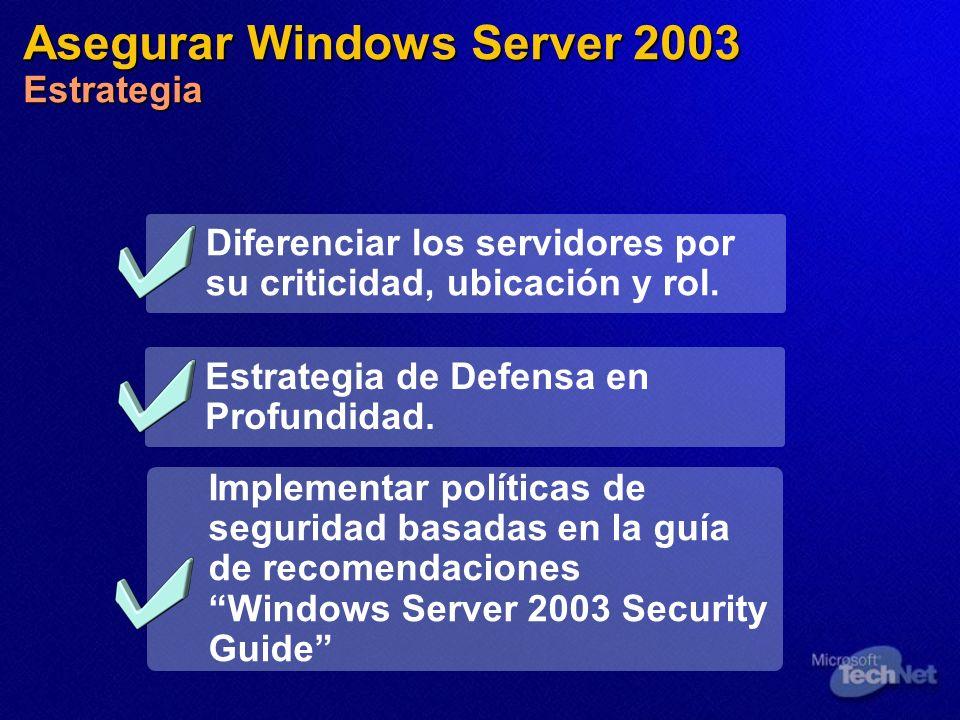 Asegurar Windows Server 2003 Estrategia Diferenciar los servidores por su criticidad, ubicación y rol. Implementar políticas de seguridad basadas en l