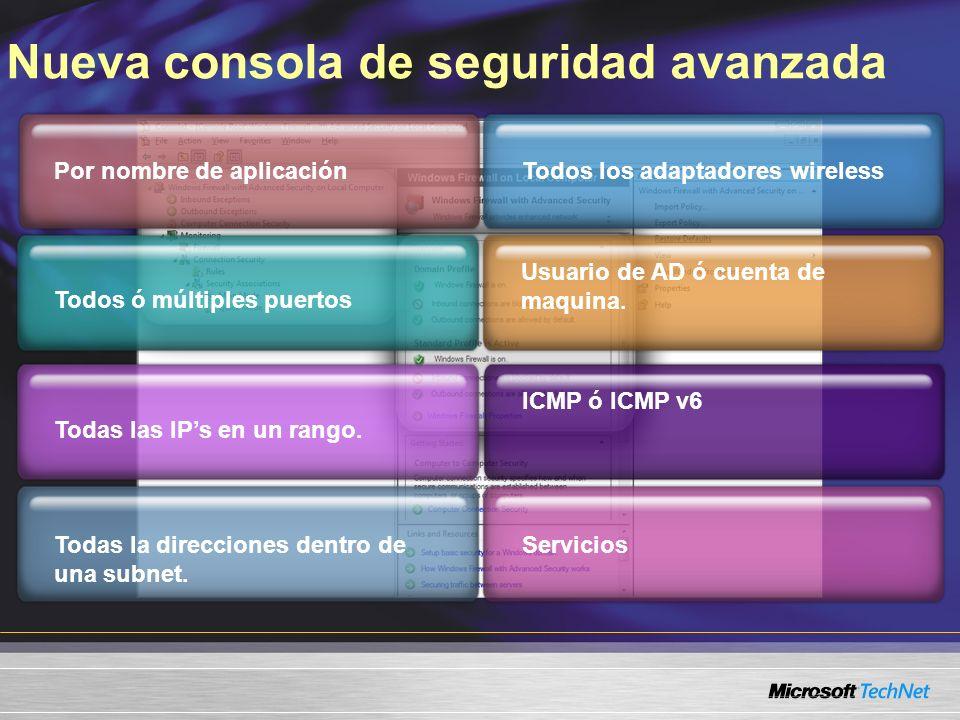 Nueva consola de seguridad avanzada Por nombre de aplicación Todos ó múltiples puertos Todas la direcciones dentro de una subnet. Todas las IPs en un