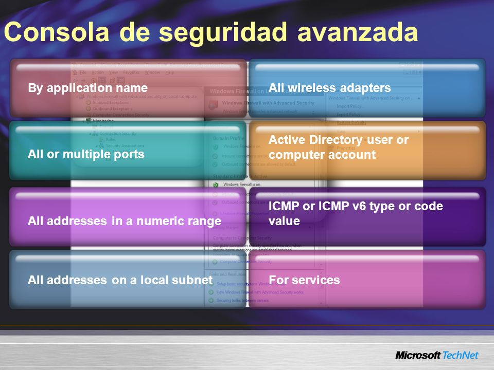 Consola de seguridad avanzada By application name All or multiple ports All addresses on a local subnet All addresses in a numeric range All wireless