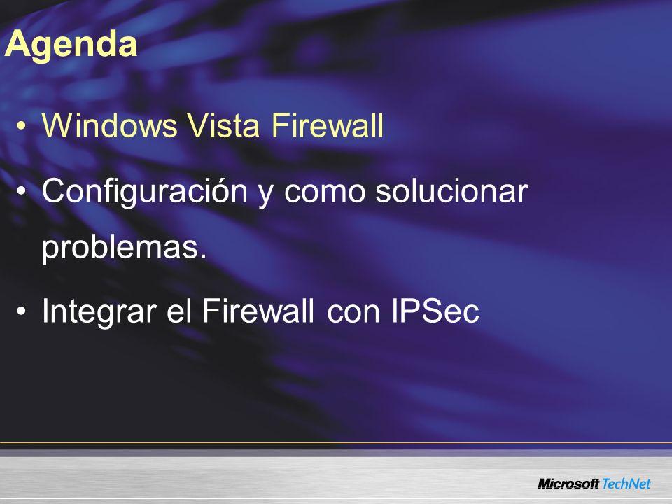 Windows Vista Firewall Configuración y como solucionar problemas. Integrar el Firewall con IPSec Agenda