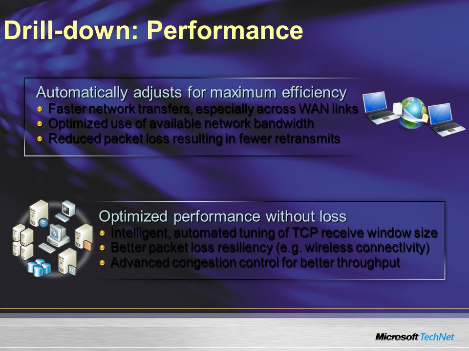 Drill-down: Performance Optimized performance without loss Intelligent, automated tuning of TCP receive window size Better packet loss resiliency (e.g