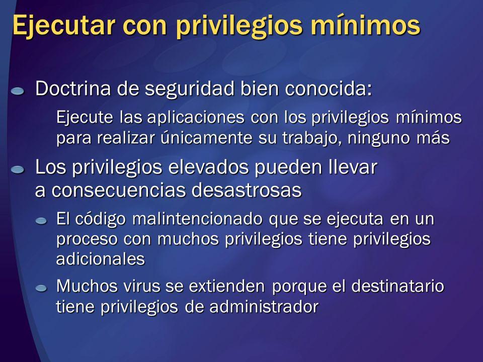 Ejecutar con privilegios mínimos Doctrina de seguridad bien conocida: Ejecute las aplicaciones con los privilegios mínimos para realizar únicamente su