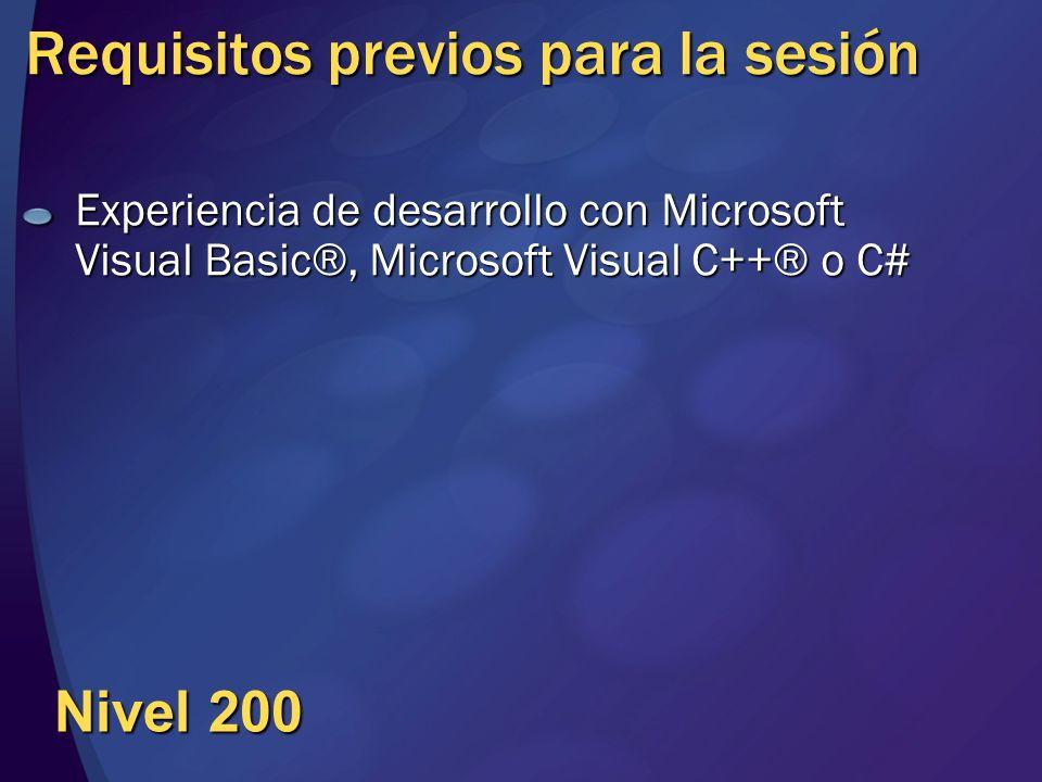 Requisitos previos para la sesión Experiencia de desarrollo con Microsoft Visual Basic®, Microsoft Visual C++® o C# Nivel 200