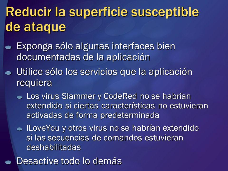 Reducir la superficie susceptible de ataque Exponga sólo algunas interfaces bien documentadas de la aplicación Utilice sólo los servicios que la aplic