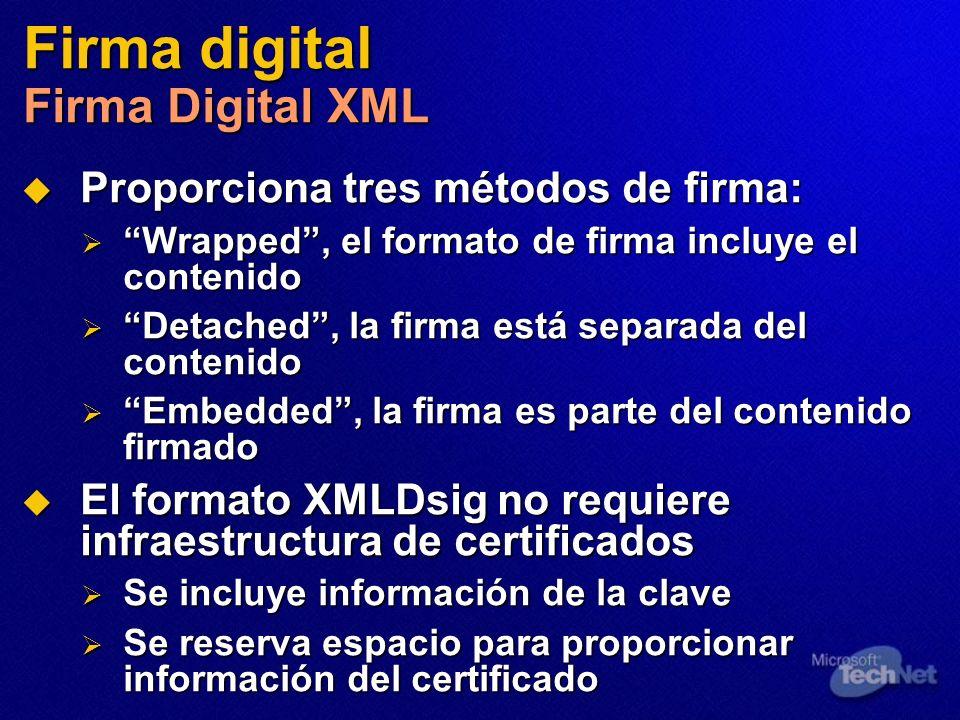Firma digital Firma Digital XML Proporciona tres métodos de firma: Proporciona tres métodos de firma: Wrapped, el formato de firma incluye el contenid