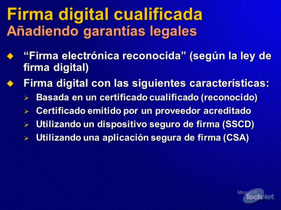 Firma digital cualificada Añadiendo garantías legales Firma electrónica reconocida (según la ley de firma digital) Firma electrónica reconocida (según