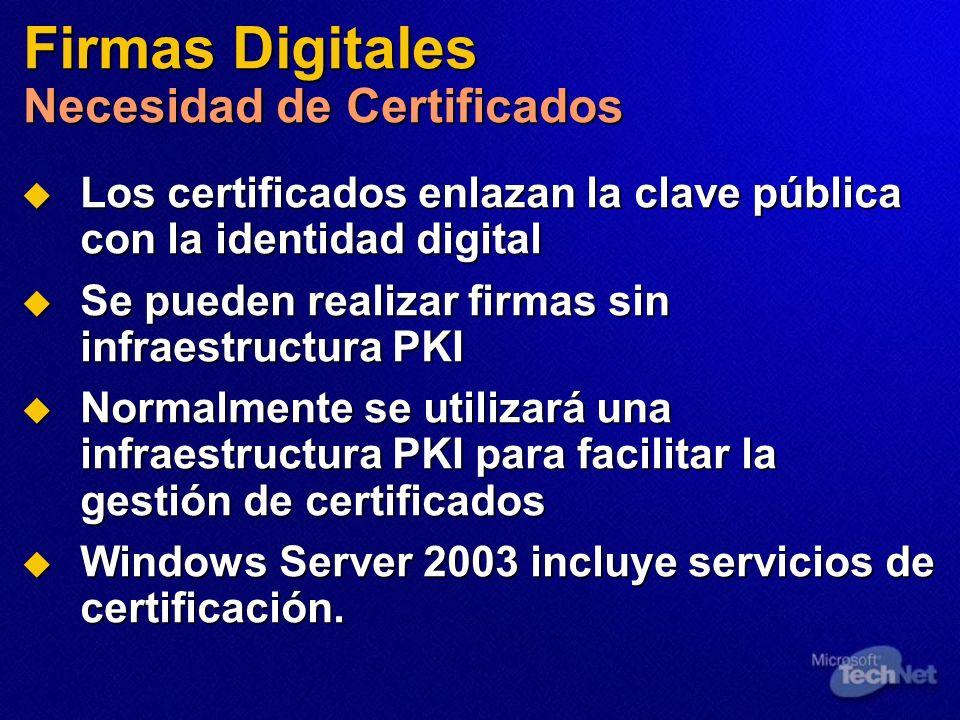 Firmas Digitales Necesidad de Certificados Los certificados enlazan la clave pública con la identidad digital Los certificados enlazan la clave públic