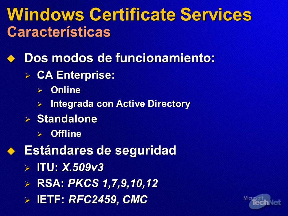 Windows Certificate Services Características Dos modos de funcionamiento: Dos modos de funcionamiento: CA Enterprise: CA Enterprise: Online Online Int