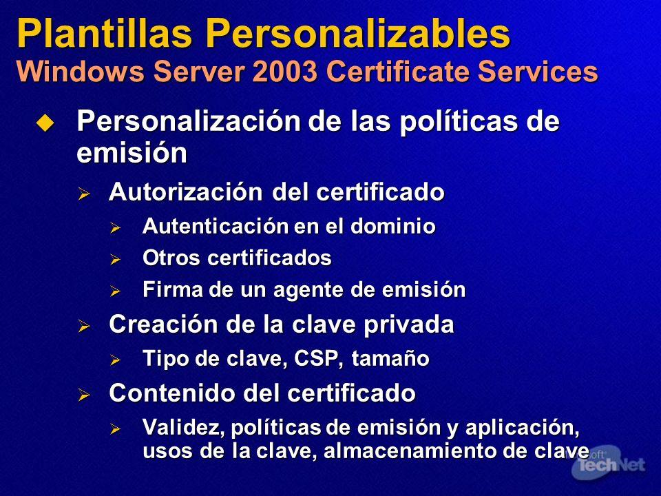 Personalización de las políticas de emisión Personalización de las políticas de emisión Autorización del certificado Autorización del certificado Aute