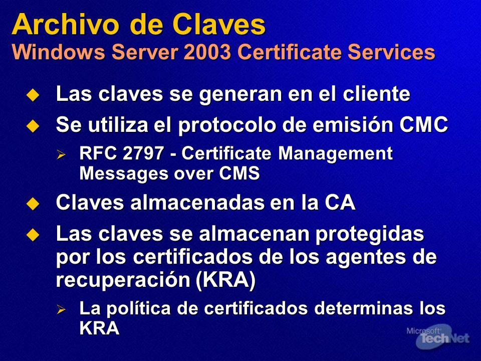 Las claves se generan en el cliente Las claves se generan en el cliente Se utiliza el protocolo de emisión CMC Se utiliza el protocolo de emisión CMC