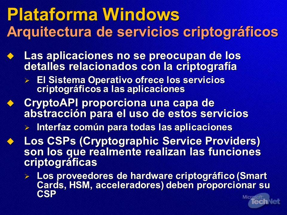 Plataforma Windows Arquitectura de servicios criptográficos Las aplicaciones no se preocupan de los detalles relacionados con la criptografía Las apli