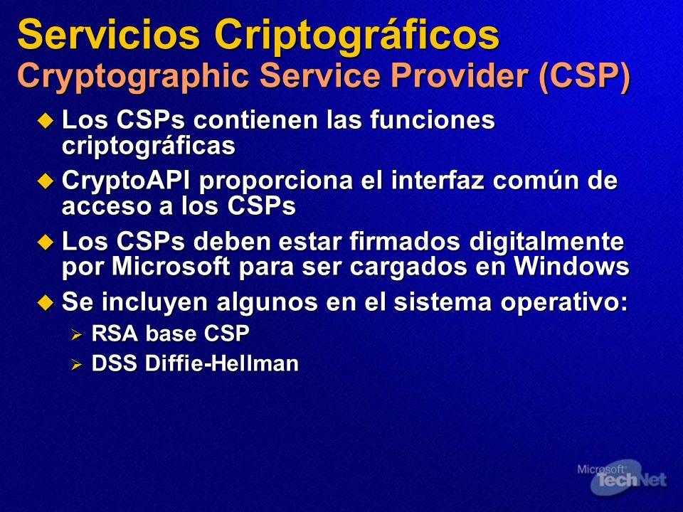 Los CSPs contienen las funciones criptográficas Los CSPs contienen las funciones criptográficas CryptoAPI proporciona el interfaz común de acceso a lo