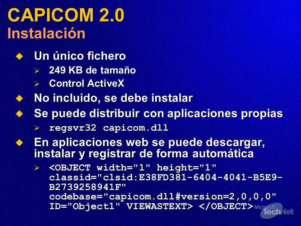 Un único fichero Un único fichero 249 KB de tamaño 249 KB de tamaño Control ActiveX Control ActiveX No incluido, se debe instalar No incluido, se debe