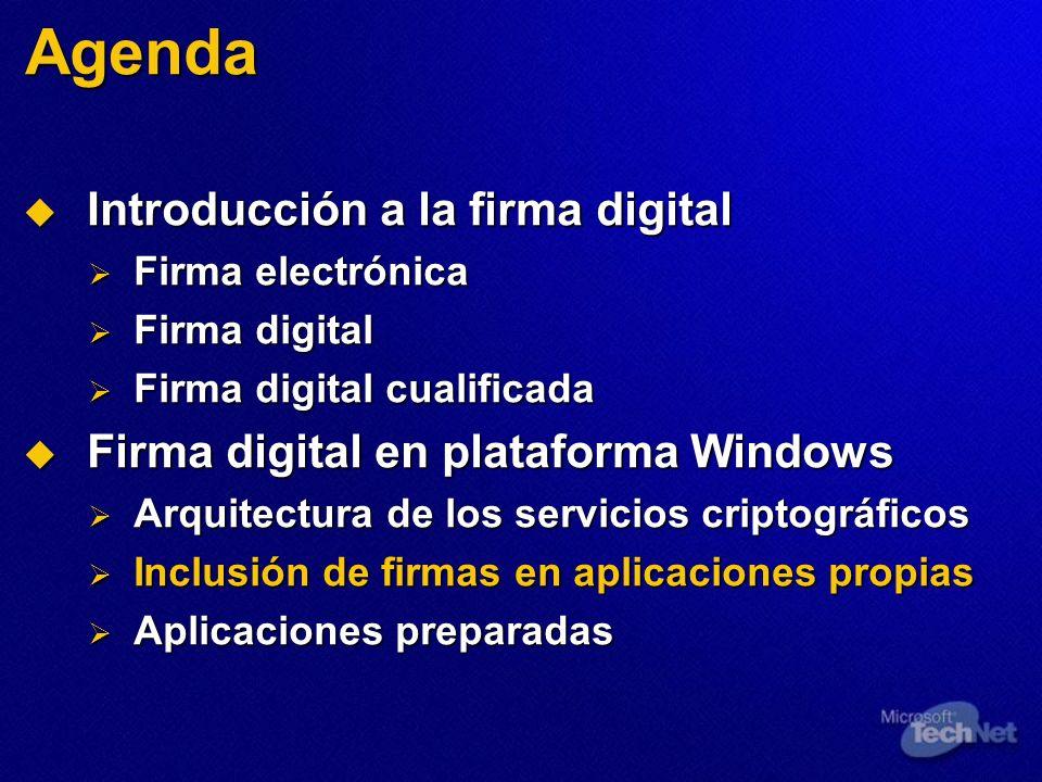 Agenda Introducción a la firma digital Introducción a la firma digital Firma electrónica Firma electrónica Firma digital Firma digital Firma digital c
