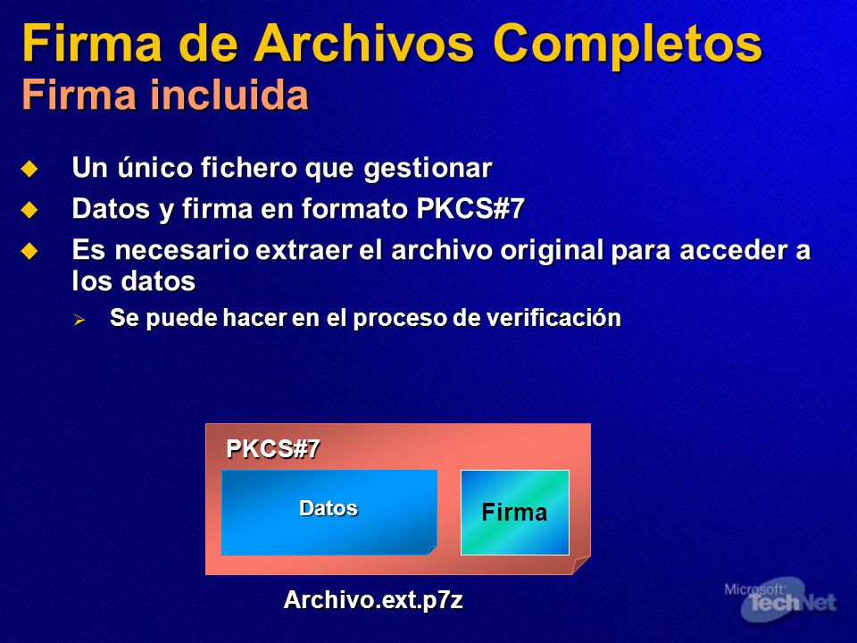 Firma de Archivos Completos Firma incluida Un único fichero que gestionar Un único fichero que gestionar Datos y firma en formato PKCS#7 Datos y firma
