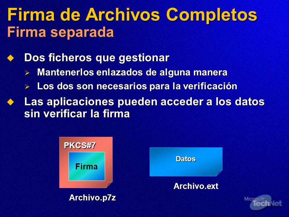 Firma de Archivos Completos Firma separada Dos ficheros que gestionar Dos ficheros que gestionar Mantenerlos enlazados de alguna manera Mantenerlos en
