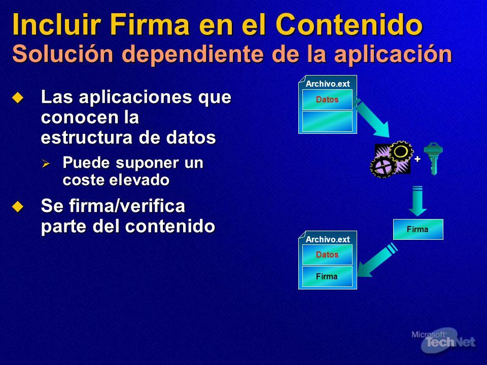 Incluir Firma en el Contenido Solución dependiente de la aplicación Las aplicaciones que conocen la estructura de datos Las aplicaciones que conocen l