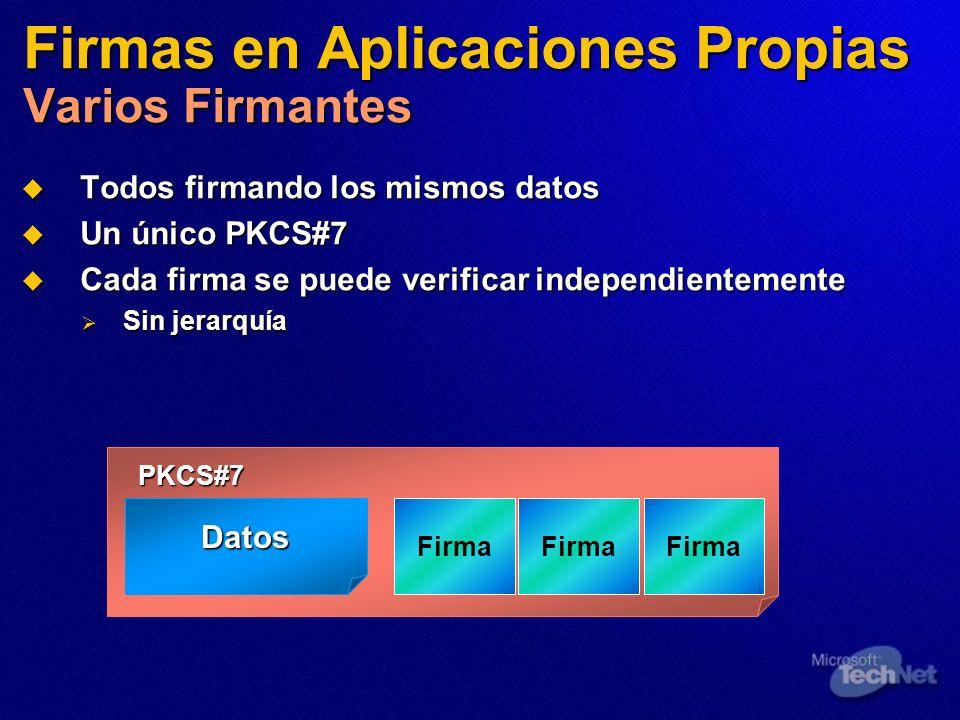 Firmas en Aplicaciones Propias Varios Firmantes Todos firmando los mismos datos Todos firmando los mismos datos Un único PKCS#7 Un único PKCS#7 Cada f