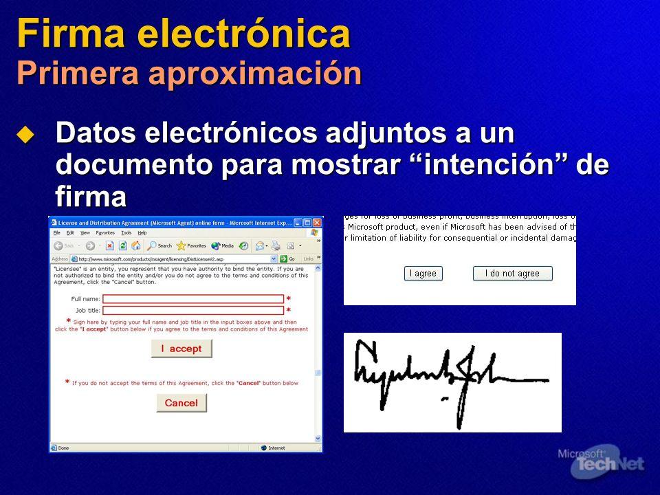 Firma electrónica Primera aproximación Datos electrónicos adjuntos a un documento para mostrar intención de firma Datos electrónicos adjuntos a un doc