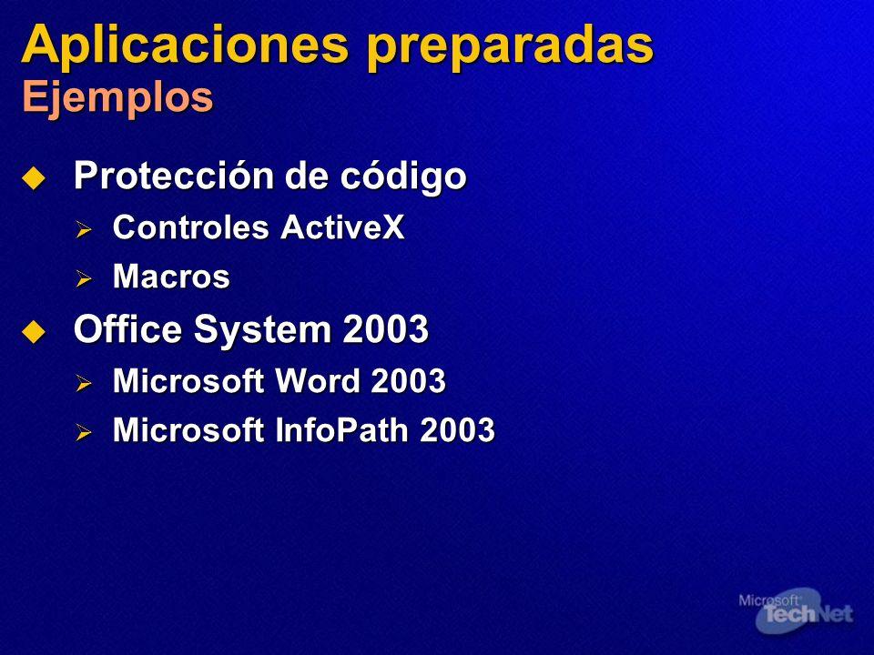 Aplicaciones preparadas Ejemplos Protección de código Protección de código Controles ActiveX Controles ActiveX Macros Macros Office System 2003 Office