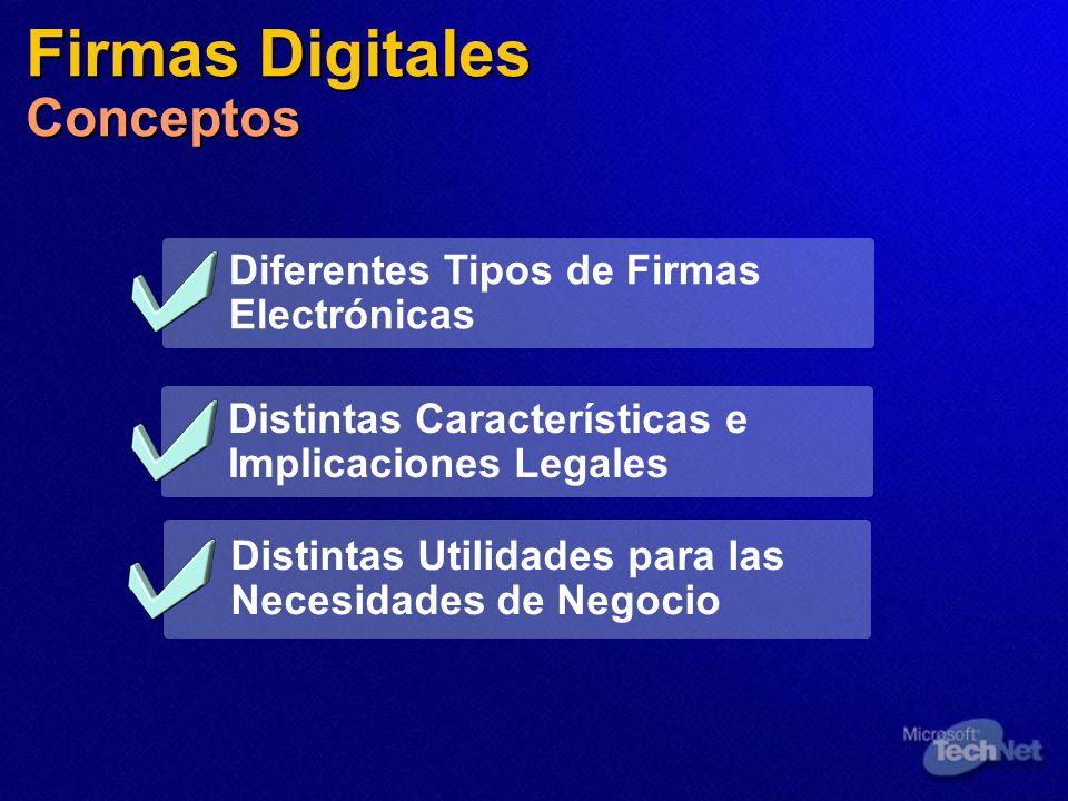 Firmas Digitales Conceptos Diferentes Tipos de Firmas Electrónicas Distintas Utilidades para las Necesidades de Negocio Distintas Características e Im